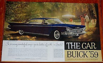 Unique 1959 Buick Electra Coupe In Navy Blue Artist Hand Colored Ad - 1 Of 1