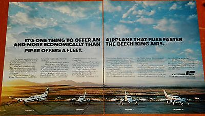 Beautiful 1981 Piper Cheyenne Airplane Ad - King Air Competition - Vintage Retro