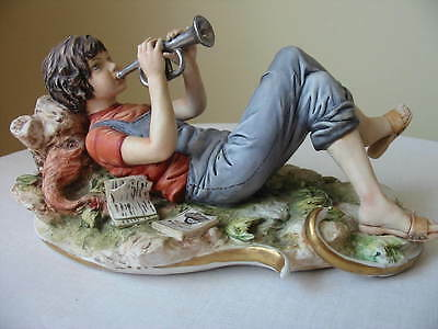 Capodimonte Figurine Boy  Playing A Trumpet By Sandro Maggioni With Certificate