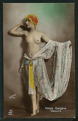 French Hand Tinted MUSIC HALL Star by WALERY 1925 Folies Bergere #2 PARIS Latest