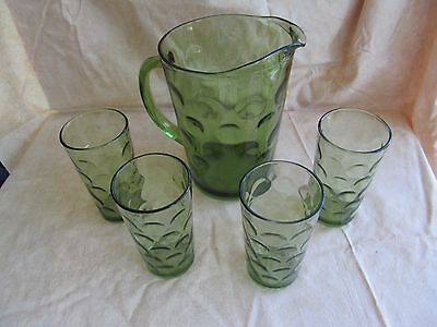Vintage Avocado Green Pitcher and 4 Glasses