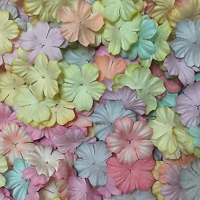 50 Mixed Pastel Heart Flowers Mulberry Paper for Craft & D.I.Y. Scrapbook
