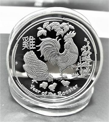 Elizabeth Ii - Year Of The Rooster 1 Oz Finished With 0.999 Silver Coin