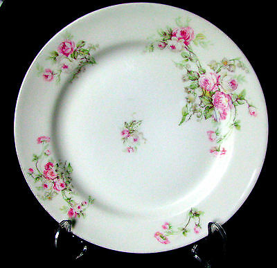"Limoges SM Elite Works  1896-1920 Pink Roses Green Leaf 9 3/4"" Dinner Plate"
