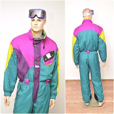 vintage retro HIBERNIA mens SKI SUIT onesi size M 80s all in one onepiece neon