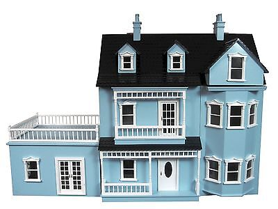 New beautiful Victorian blue wooden 3 level dolls house