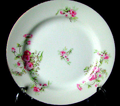 "Limoges SM Elite Works  1896-1920 Pink Roses Green Leaf 6 1/4"" Bread Plate"