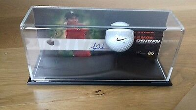 Tiger Woods range used ball display, hand signed card display limited edition.