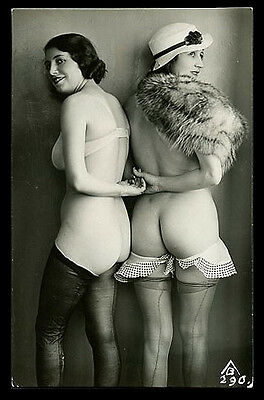 French OSTRA Lesbian BEAUTIES Rear Vu DERRIERES Stockings 1920s PARIS Latest