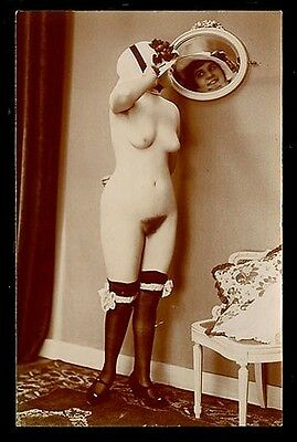 French YOUTHFUL Nude NARCISSIST Printing-Out-Paper Agelou 1915 ~ PARIS Latest!