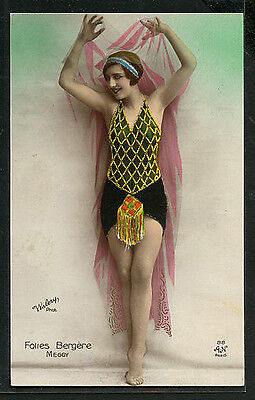 French Hand Tinted MUSIC HALL Star by WALERY 1925 Folies Bergere #3 PARIS Latest