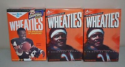 LOT 3 (UNOPENED) Cereal Box WHEATIES WALTER PAYTON CHICAGO BEARS 1 LB 2 OZ