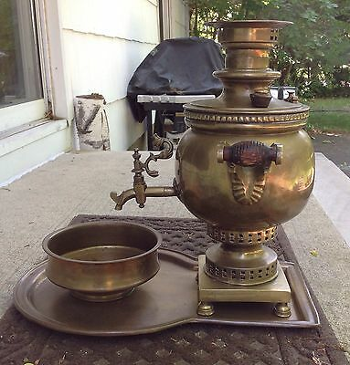 "Antique   Russian Brass Samovar "" Т.Ф.И.Г.Б"" Tula."