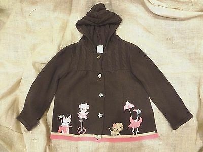 Gymboree Toddler Girl 3T Brown & Pink w/ Animals Hooded Cable Knit Sweater~NWOT