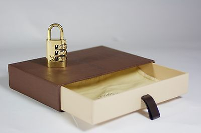 Authentic Louis Vuitton Brass Combination Dial Padlock with Box