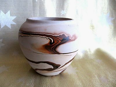 Nemadji Pottery Vase Hand Made Hand Painted Arrowhead Minnesota Usa Indian Head