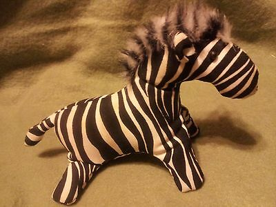 """Vintage 6"""" Animal Zebra Sand & 100% Poly Stuffed Faux Fur Main Made in Thailand"""