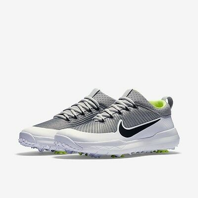 Nike FI Premier Golf Shoes Spikes White Silver Volt Black Sizes ( 835421-001 )