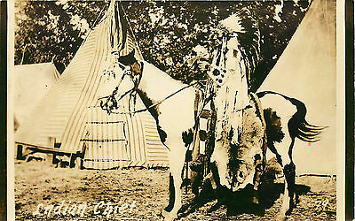 Indian Chief On Horse, Rppc, Vintage Postcard