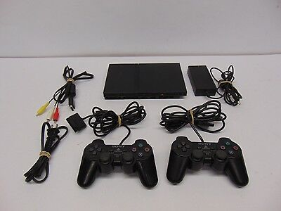 Ps2 Playstation 2 Slim System With 2 Controllers & Hookups + Memory Card Bundle