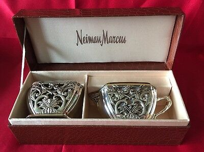 Neiman Marcus Godingers Silver Plated Creamer And Sugar Bowl W/ Glass Inserts