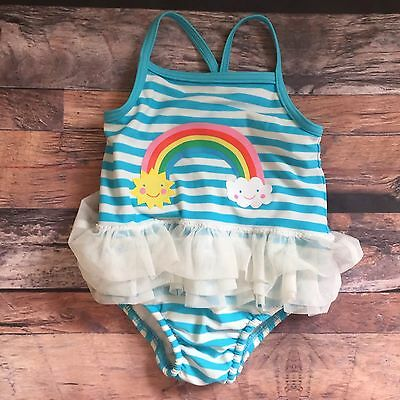 Baby Girl Swimming Costume Swim Suit 6-9 Months Nappy M&S Holiday Summer
