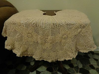 "Vintage Crocheted Christmas Tree Skirt 51"" Beige Lined"