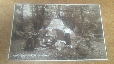 Gypsies in the new forest real photo postcard