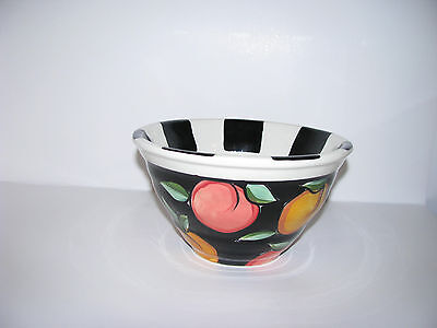 "Vicki Carroll Pottery - Fruit Motif -  7""  Serving Bowl Ceramic - Fruit Motif"
