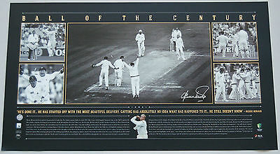 Shane Warne Hand Signed Ball Of The Century Panoramic Limited Edition Print