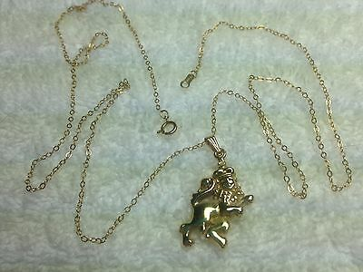 Necklace 14K Gold Lion with Crown Pendant 22-1/2 inch Fine Cable Chain