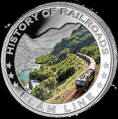 Liberia 2011 $5 History of Railroads - Flam Line Proof Silver Coin