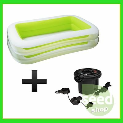 2017 Intex Swim Center Family Inflatable Pool + Quick-Fill AC Electric Air Pump