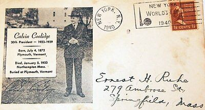 CALVIN COOLIDGE FIRST DAY COVER New York Worlds Fair Trylon & Perisphere Post Ma