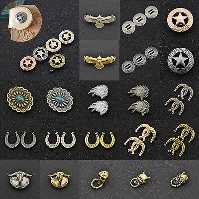Leathercraft Conchos Western Screw Back Saddle Eagle Cow Horseshoe Many Shapes