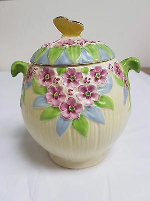 Art Deco Original Burleigh Ware Butterfly Lidded Pot With Moulded Relief