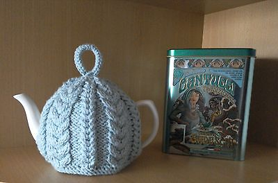 Hand Knitted Aran Tea Cosy - Duck Egg/Cable - Medium - 4 cup: GKS Hand Knits
