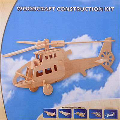 3D Wooden Helicopter Heli Airplane Modelling DIY Assembly Puzzles Kids Toy