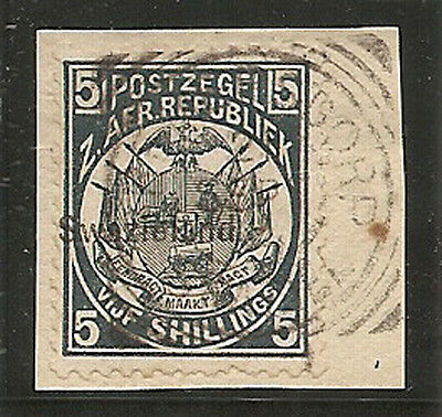 SWAZILAND 1890 5s  SG8 used on piece