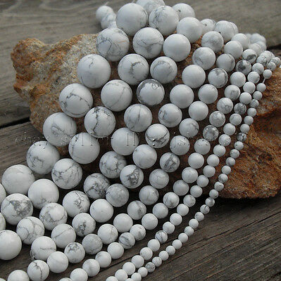 "Natural White Howlite Gemstone Round Loose Beads 15.5"" 3mm 4mm 6mm 8mm 10mm 12mm"