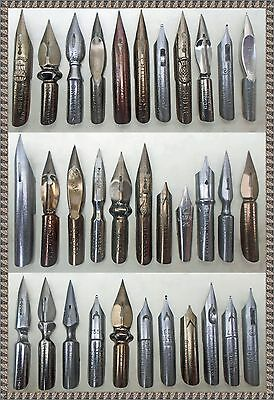 A collection of 33 vintage nibs e.g. Brause, Mitchell, Perry, Baignol