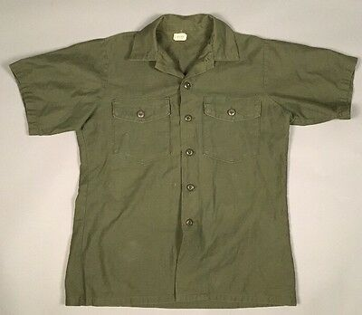 Vietnam US Army OG-107 Cotton Sateen Utility Shirt Large 16 1/2 x 36 1974