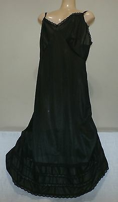 "Black Lacy Full Slip--Size-2X---Bust To 42""--(Nwt)"