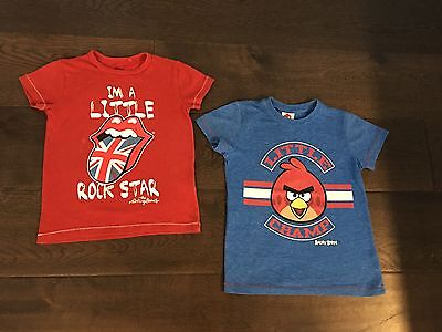 'GREAT' 2 x Boys NEXT T-Shirts (Rolling Stones & Angry Birds) - 4-5 Years