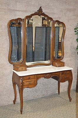 Vintage/Antique French Carved Walnut Marble Top Vanity w/Tri-Fold Mirror