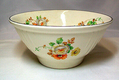Vintage Harker Hotoven 9 Inch Mixing Bowl Floral White Orange Yellow GVC
