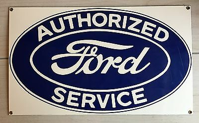 Vintage 1980's Authorized Ford Service Sign! Ande Rooney Porcelain Advertising