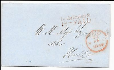 GREAT BRITAIN STAMPLESS COVER LAMBS-CONDUIT ST 1d PAID IN RED