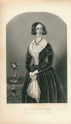 Pretty young hostess in party gown ca. 1850's era fashion Female antique print