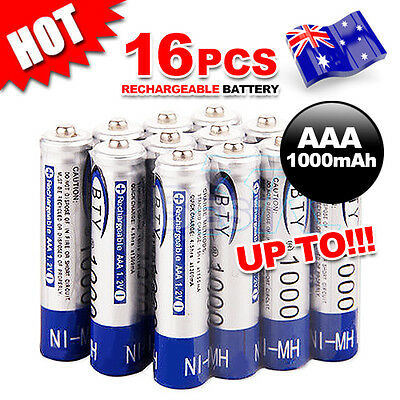 4-16X BTY AAA Rechargeable Battery Recharge Batteries 1.2V 1000mAh Ni-MH OZ
